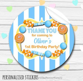 Sky Blue Orange Theme Candy Sweets Shop Style Personalised Stickers 1x A4 sheet