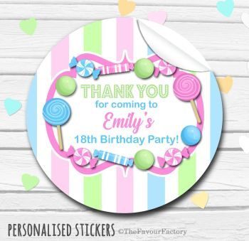 Pastels Theme Candy Sweets Shop Style Personalised Stickers 1x A4 sheet
