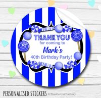 Royal Blue Theme Candy Sweets Shop Style Personalised Stickers 1x A4 sheet