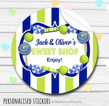 Navy and Lime Theme Candy Sweets Shop Style Personalised Stickers 1x A4 sheet