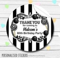 Black Theme Candy Sweets Shop Style Personalised Stickers 1x A4 sheet