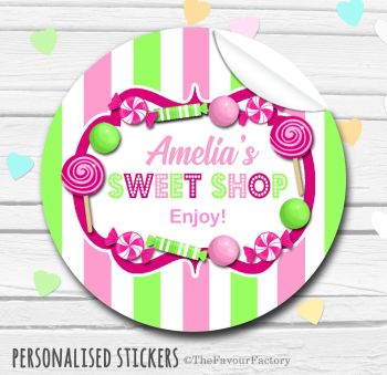 Raspberry Apple Candy Sweets Shop Style Personalised Stickers 1x A4 sheet