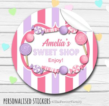 Honeysuckle & Lilac Candy Sweets Shop Style Personalised Stickers 1x A4 sheet