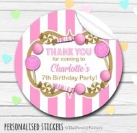 Sweets Stickers Candy Sweet Shop Themed Gold and Pink