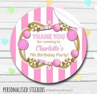 Gold and Pink Theme Candy Sweets Shop Style Personalised Stickers 1x A4 sheet