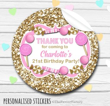 Glitter Gold and Pink Theme Candy Sweets Shop Style Personalised Stickers 1x A4 sheet