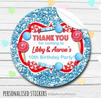 Glitter Blue and Red Theme Candy Sweets Shop Style Personalised Stickers 1x A4 sheet