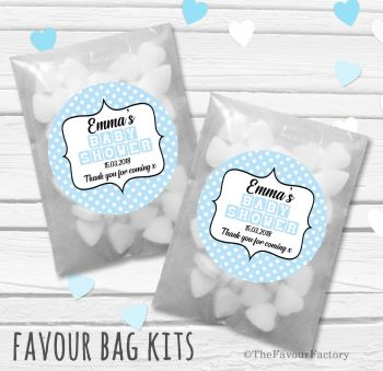 Baby blocks Blue Personalised Baby Shower Party Glassine Paper Favour Bags Kits x12