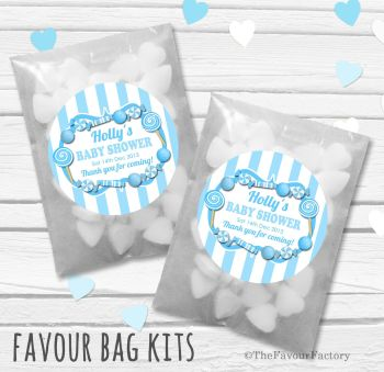 Candy Sweets Blue Theme Personalised Baby Shower Party Glassine Paper Favour Bags Kits x12