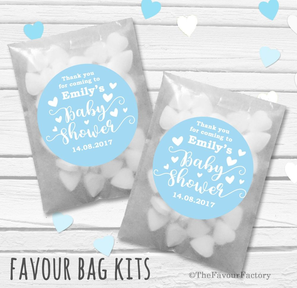 Personalised Baby Shower Party Glassine Paper Favour Bags Kits x12