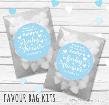 Love Hearts Blue Personalised Baby Shower Party Glassine Paper Favour Bags Kits x12