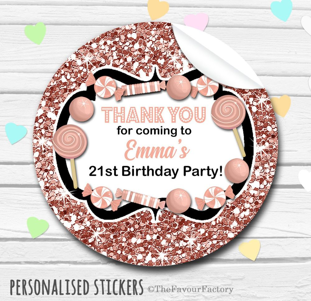 Glitter Rose Gold Theme Candy Sweets Shop Style Personalised Stickers 1x A4