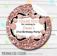 Glitter Rose Gold Theme Candy Sweets Shop Style Personalised Stickers 1x A4 sheet