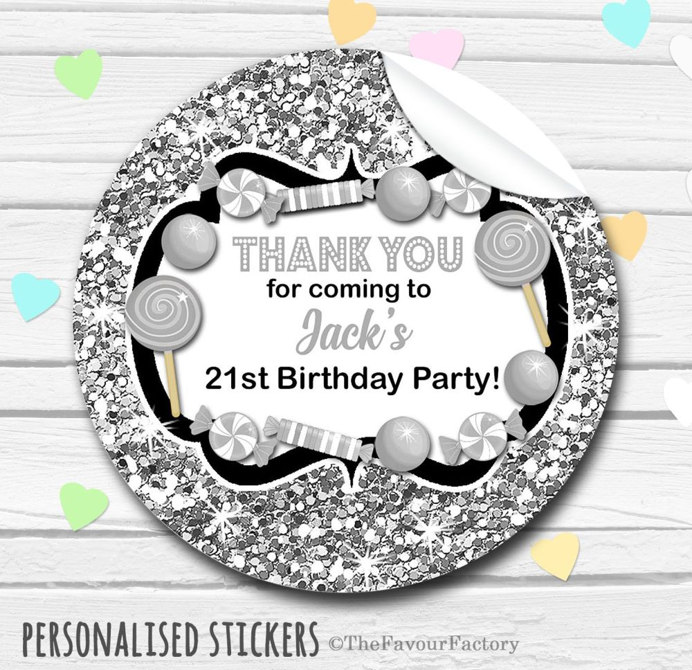 Glitter Silver Theme Candy Sweets Shop Style Personalised Stickers 1x A4 sh