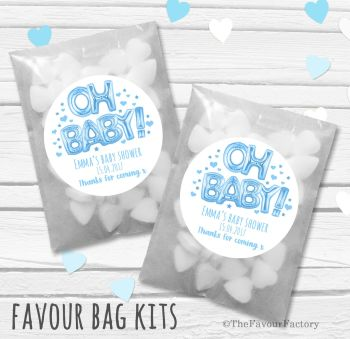 'Oh Baby' Blue foil Balloons Personalised Baby Shower Party Glassine Paper Favour Bags Kits x12