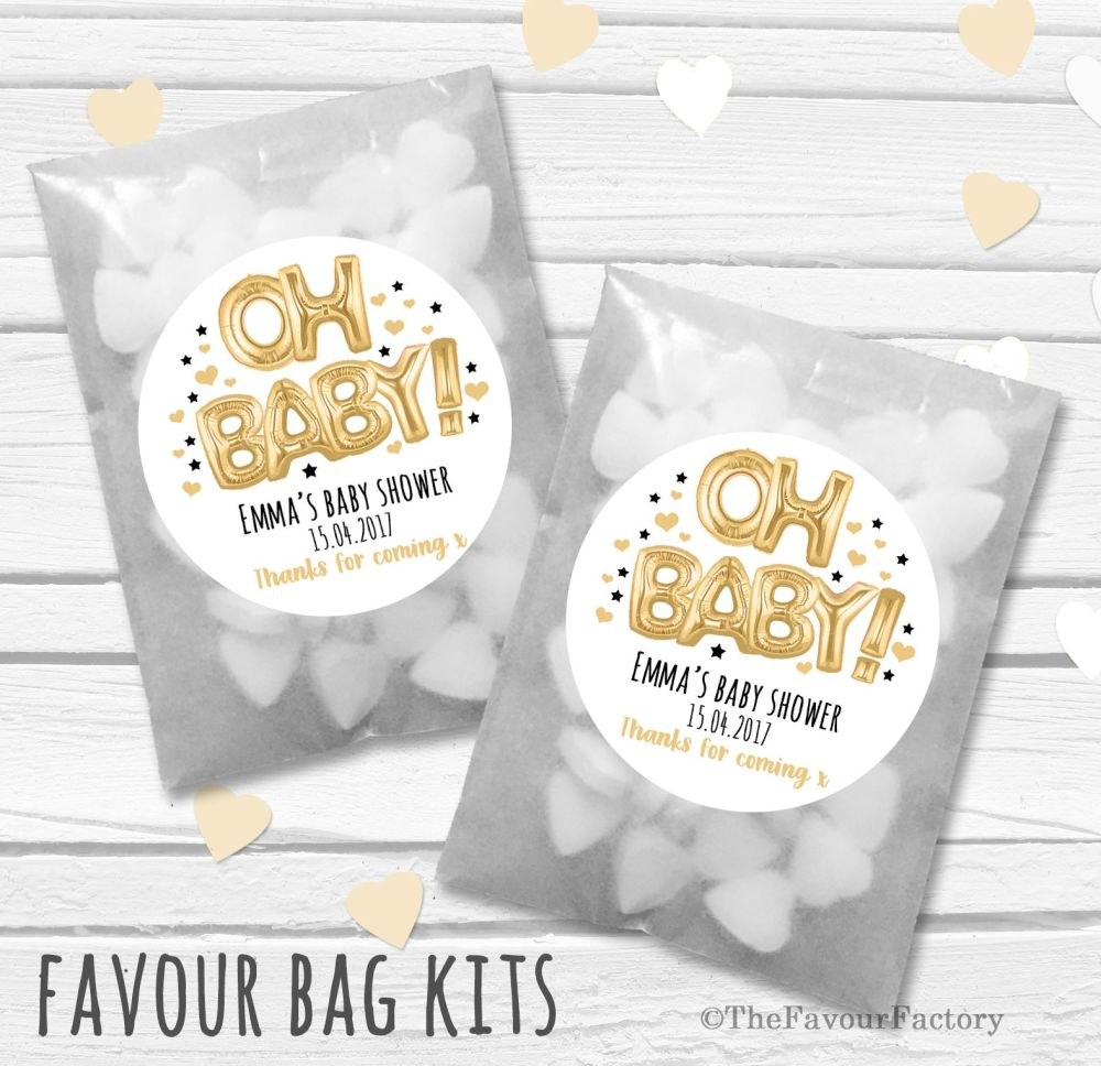 'Oh Baby' Gold black foil Balloons Personalised Baby Shower Party Glassine