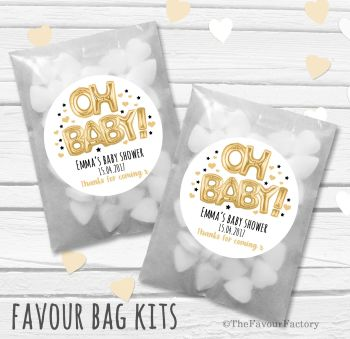 'Oh Baby' Gold black foil Balloons Personalised Baby Shower Party Glassine Paper Favour Bags Kits x12