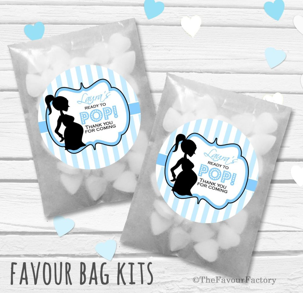 Ready to pop Blue Personalised Baby Shower Party Glassine Paper Favour Bags