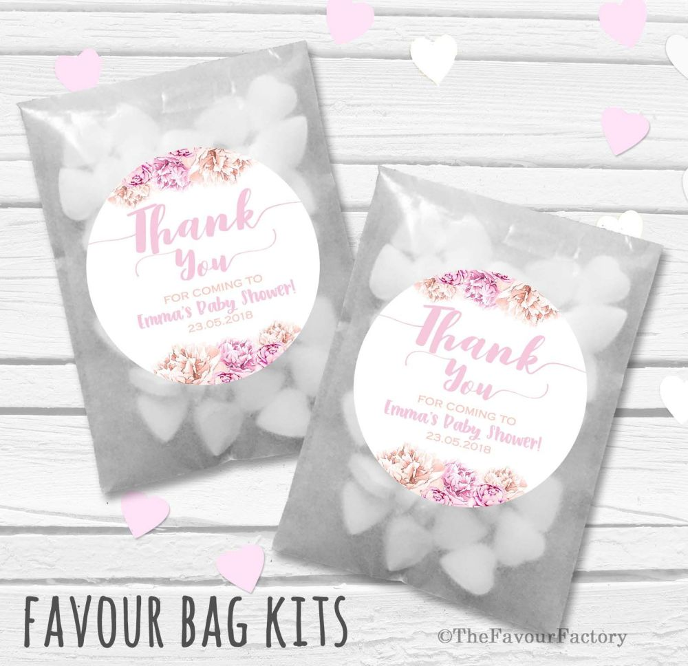 Thank You Florals Personalised Baby Shower Party Glassine Paper Favour Bags