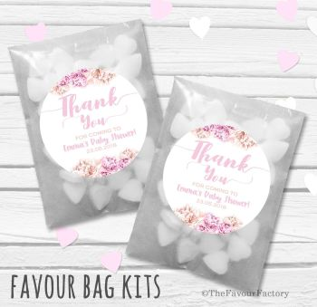Thank You Florals Personalised Baby Shower Party Glassine Paper Favour Bags Kits x12