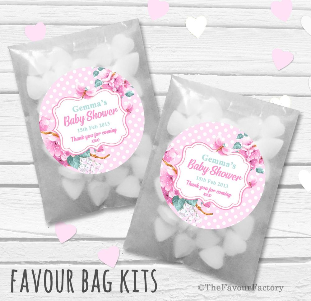 Floral Polka Dots Pink Personalised Baby Shower Party Glassine Paper Favour