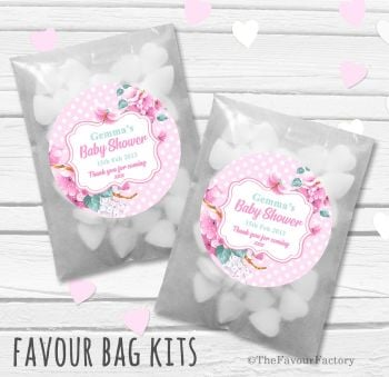 Floral Polka Dots Pink Personalised Baby Shower Party Glassine Paper Favour Bags Kits x12