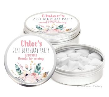 Boho Feather Florals Personalised Birthday Party Favour Tins x1
