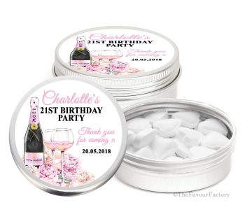 Adult Birthday Party Favour Tins Keepsakes Champagne & Flowers