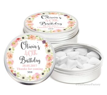 Jessica Florals Personalised Birthday Party Favour Tins x1