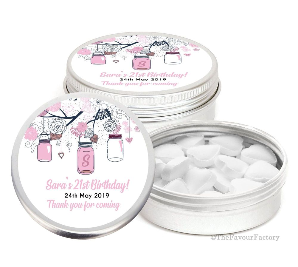 Mason Jars Personalised Birthday Party Favour Tins x1