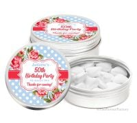 Cath Floral Polka Dots Personalised Birthday Party Favour Tins x1
