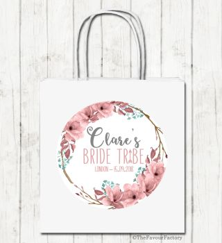 Boho Floral Wreath Personalised Hen Night Paper Party Goody Bags x1