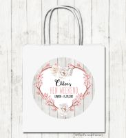 Rustic Floral Heart Personalised Hen Night Paper Party Goody Bags x1