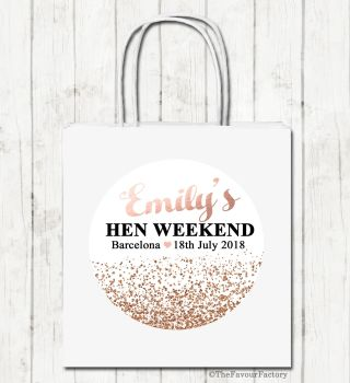 Rose Gold Glitter Confetti Personalised Hen Night Party Goody Bags x1