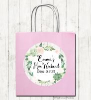 Succulents Florals Personalised Hen Night Paper Party Goody Bags x1