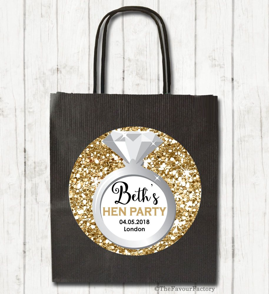Ring Gold Glitter Personalised Hen Night Party Goody Bags x1