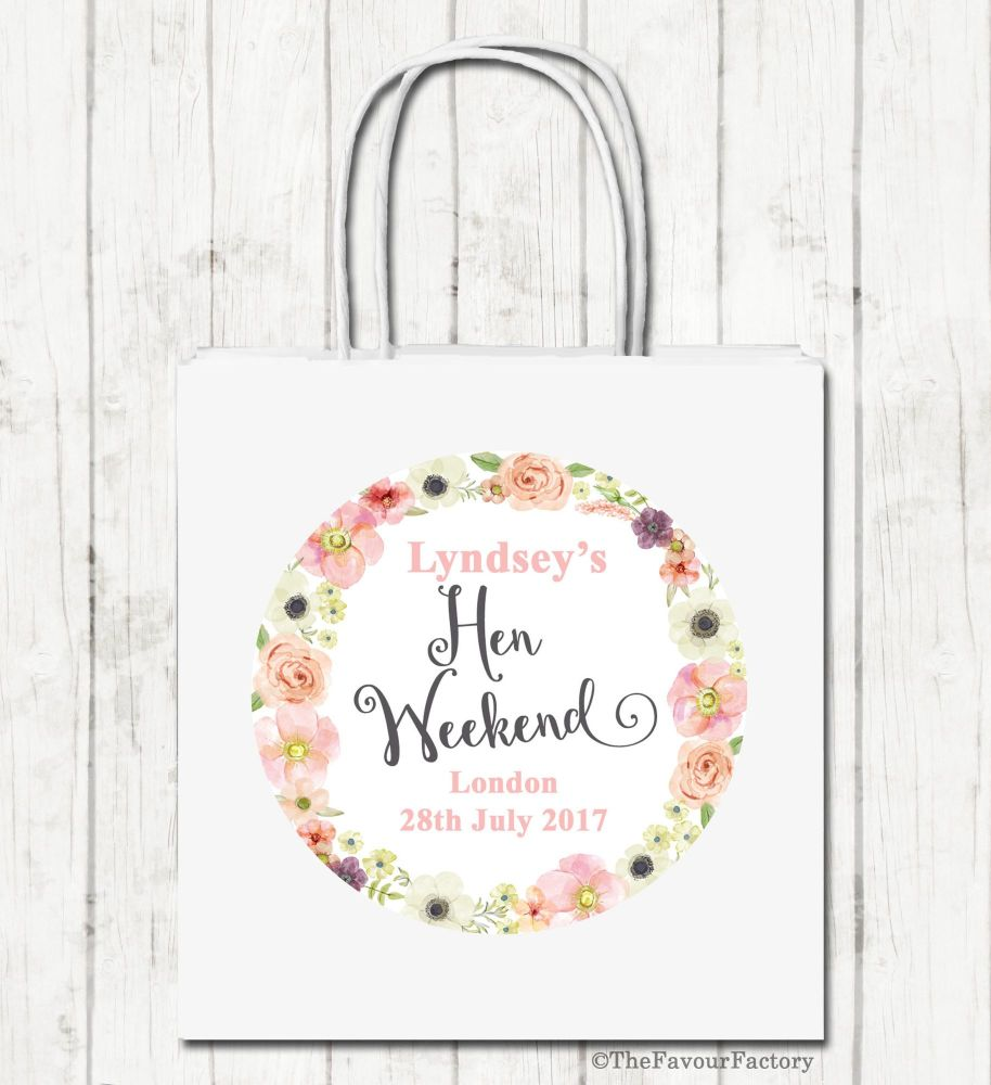 Jessica Florals Personalised Hen Night Paper Party Goody Bags x1