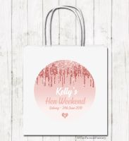 Dripping Glitter Rose Gold Personalised Hen Night Party Goody Bags x1