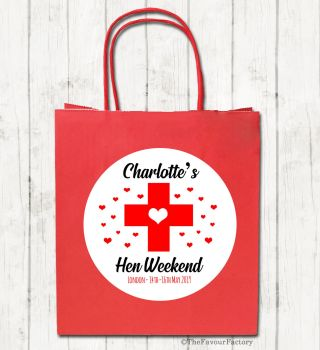 Hangover Survival Cross Personalised Hen Night Paper Party Bags x1