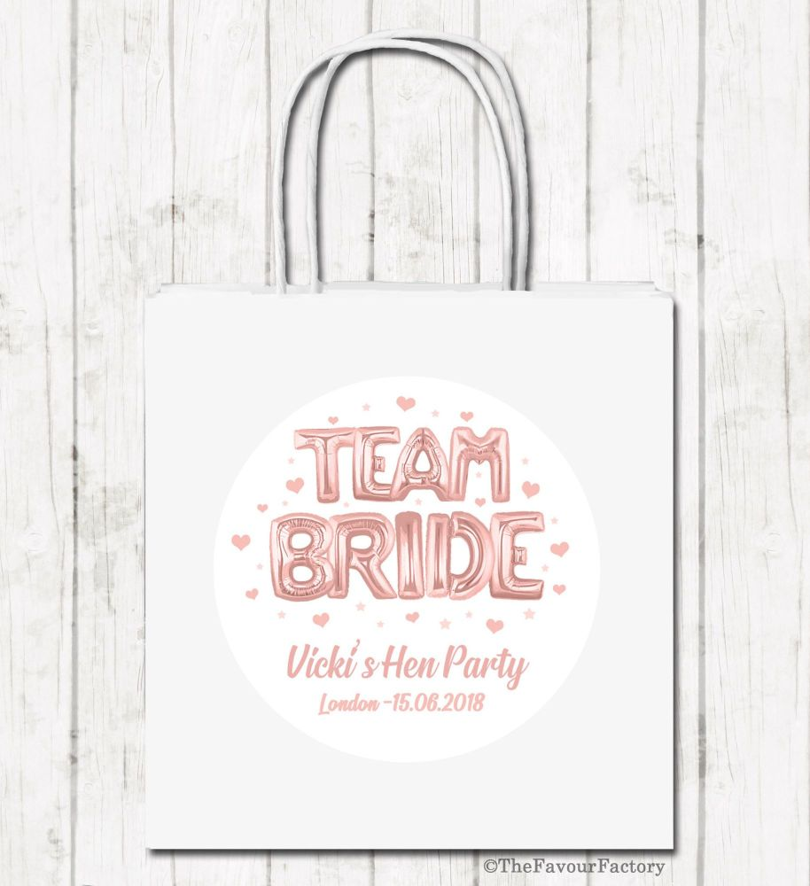 Rose Gold Foil Balloons Team Bride Personalised Hen Night Party Bags x1