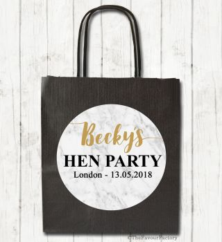 Marble Personalised Hen Night Paper Party Goody Bags x1