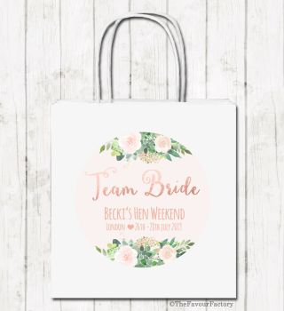 Team Bride Florals Personalised Hen Night Paper Party Bags x1