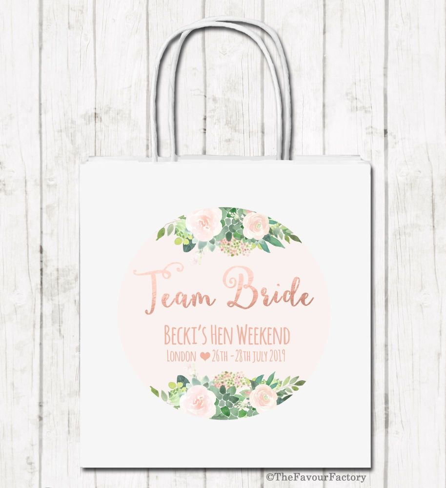 Team Bride Florals Personalised Hen Night Paper Party Goody Bags x1