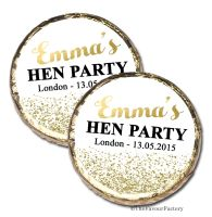 Gold Glitter Confetti Personalised Hen Party Mint Chocolate Favours x 40 pieces