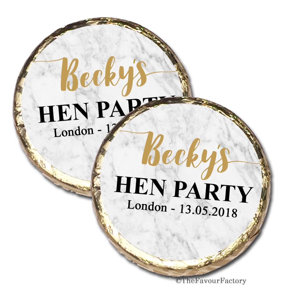 Personalised Hen Party Mint Chocolate Favours x 40 pieces