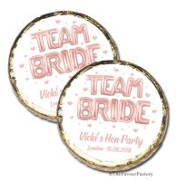 Team Bride Rose Gold Balloons Personalised Hen Party Mint Chocolate Favours x10