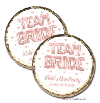 Team Bride Rose Gold Balloons Personalised Hen Party Mint Chocolate Favours x 40 pieces