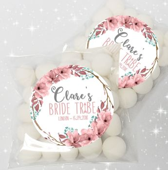 Boho Floral Bride Tribe Personalised Hen Party Sweet Bags Favours Kits x12