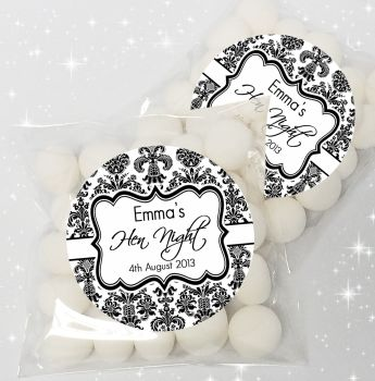 Elegant Damask Personalised Hen Party Sweet Bags Favours Kits x12