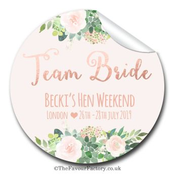 Team Bride Florals Personalised Hen Do Party Bag Stickers 1x A4 sheet